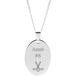 Stainless Steel Personalized Engraved Hockey Oval Pendant with Chain