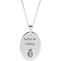 Stainless Steel Personalized Engraved Golf Bag Oval Pendant with Chain