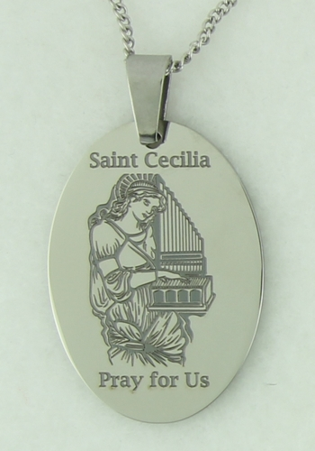 Saint Cecilia Oval Prayer Pendant