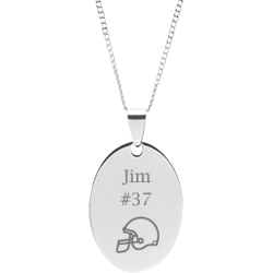 Stainless Steel Personalized Engraved Football Helmet Oval Pendant with Chain