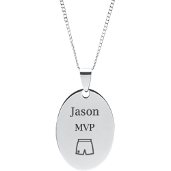 Stainless Steel Personalized Engraved Basketball Shorts Oval Pendant with Chain