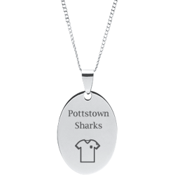 Stainless Steel Personalized Engraved Soccer Jersey Oval Pendant with Chain