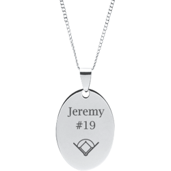 Stainless Steel Personalized Engraved Baseball Field Oval Pendant with Chain