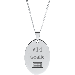 Stainless Steel Personalized Engraved Hockey Net Oval Pendant with Chain