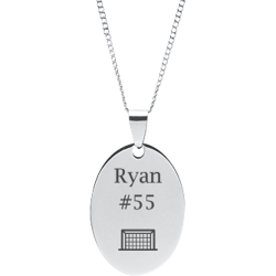 Stainless Steel Personalized Engraved Soccer Net Oval Pendant with Chain