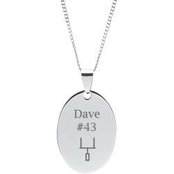 Stainless Steel Personalzied Engraved Football Goal Post Oval Pendant with Chain
