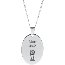 Stainless Steel Personalized Engraved Basketball Trophy Oval Pendant with Chain
