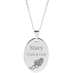 Stainless Steel Personalized Engraved Track & Field Oval Pendant