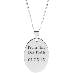Stainless Steel Personalized Engraved Oval Pendant with Chain - Create Your Own Custom Pendant