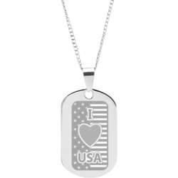 Stainless Steel Engraved I Love USA Flag Pendant  with FDR Quote