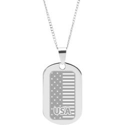 Stainless Steel Personalized Engraved USA Flag Pendant with Chain