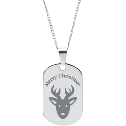 Stainless Steel Personalized Engraved Christmas Reindeer Pendant