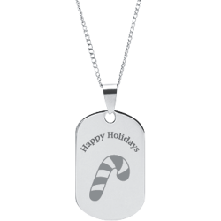 Stainless Steel Personalized Engraved Happy Holiday Candy Cane Pendant