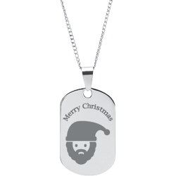 Stainless Steel Personalized Engraved Christmas Santa Claus Pendant