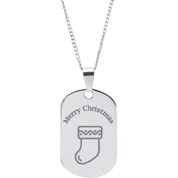 Stainless Steel Personalized Engraved Christmas Stocking Pendant