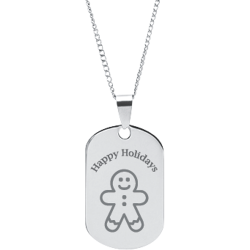 Stainless Steel Personalized Engraved Happy Holiday Ginger Bread Man Pendant