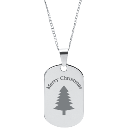 Stainless Steel Personalized Engraved Christmas Tree Pendant