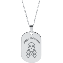 Stainless Steel Personalized Engraved Halloween Skull Pendant