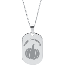 Stainless Steel Personalized Engraved Thanksgiving Pumpkin Pendant