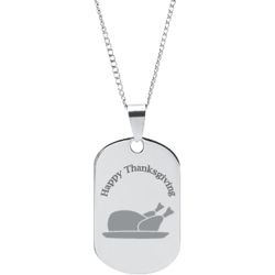 Stainless Steel Personalized Engraved Thanksgiving Turkey Pendant