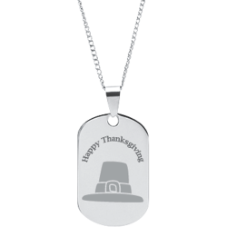 Stainless Steel Personalized Engraved Thanksgiving Pilgrim's Hat Pendant