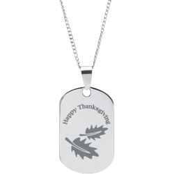 Stainless Steel Personalized Engraved Thanksgiving Fall Leaves Pendant