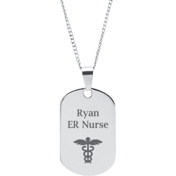 Stainless Steel Engraved Nurse Symbol And Prayer Pendant with Chain