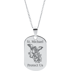 Stainless Steel Engraved St. Michael Prayer Pendant