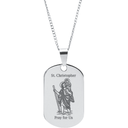 Stainless Steel Engraved St. Christopher Prayer Pendant