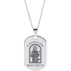 Stainless Steel Engraved St. Francis Of Assisi Peace Prayer Pendant