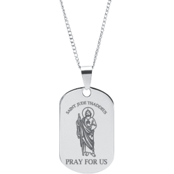 Stainless Steel Engraved St. Jude Thaddeus Prayer Pendant