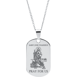 Stainless Steel Engraved Saint Jude Thaddeus Prayer Pendant