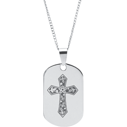 Stainless Steel Engraved Cross Pendant With Serenity Prayer