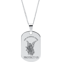 Stainless Steel Engraved Guardian Angel Prayer Pendant