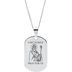 Stainless Steel Engraved Saint Patrick  Prayer Pendant with Chain