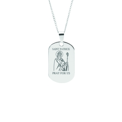 Stainless Steel Personalized Engraved Saint Patrick Pendant