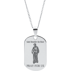 Stainless Steel Engraved Saint Benedict Prayer Pendant
