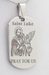 Stainless Steel Engraved St. Luke Prayer Pendant