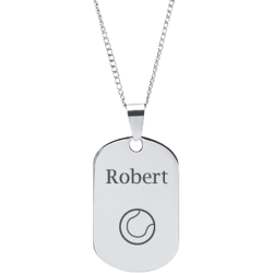 Stainless Steel Personalized Engraved Tennis Ball Sports Pendant with Chain