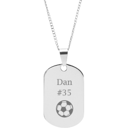 Stainless Steel Personalized Engraved Soccer Sports Pendant with Chain