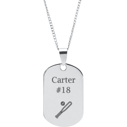 Stainless Steel Personalized Engraved Baseball Bat & Ball Sports Pendant with Chain