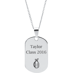 Stainless Steel Personalized Engraved Golf Bag Sports Pendant with Chain