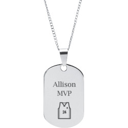 Stainless Steel Personalized Engraved Basketball Jersey Sports Pendant with Chain