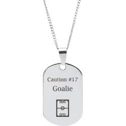 Stainless Steel Personalized Engraved Hockey Rink Sports Pendant with Chain