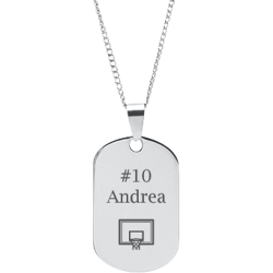 Stainless Steel Personalized Engraved Basketball Hoop Sports Pendant with Chain