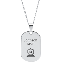 Stainless Steel Personalized Engraved Soccer Trophy Sports Pendant with Chain