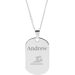 Stainless Steel Personalized Engraved Swim Pendant with Chain