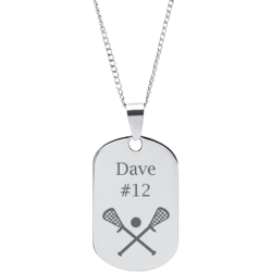 Stainless Steel Personalized Engraved Lacrosse Dog Tag Sports Pendant with Chain