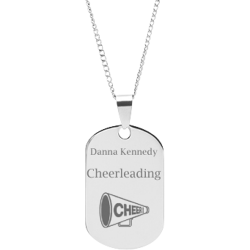 Stainless Steel Personalized Engraved Cheerleading Dog Tag Sports Pendant with Chain