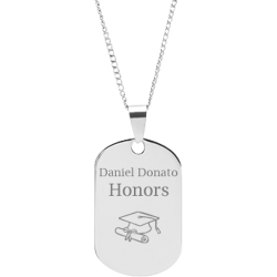 Stainless Steel Personalized Engraved Graduation Cap Pendant with Chain